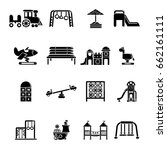 playground equipment icons set. ... | Shutterstock .eps vector #662161111