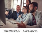 business workers in discussion... | Shutterstock . vector #662163991