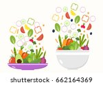 vegetable bowl and plate.... | Shutterstock .eps vector #662164369