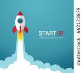 illustration with rocket. new... | Shutterstock .eps vector #662173879