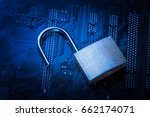 opened padlock on computer... | Shutterstock . vector #662174071