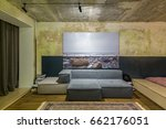 room in a loft style with... | Shutterstock . vector #662176051