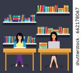 women in a library  working ... | Shutterstock .eps vector #662178067
