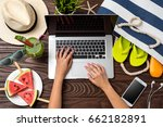 summer holiday preparations... | Shutterstock . vector #662182891