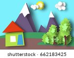 mountain scene paper world.... | Shutterstock .eps vector #662183425