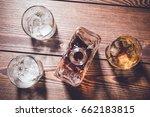 whiskey bottle and whiskey... | Shutterstock . vector #662183815