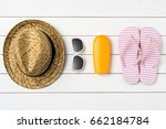 summer background with straw... | Shutterstock . vector #662184784