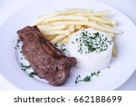 Steak  Grilled  Rice And Frenc...