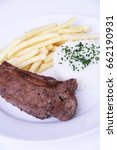 Steak Grilled  French Fries An...
