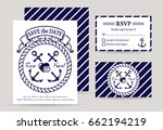 sea wedding invitation cards. ... | Shutterstock .eps vector #662194219