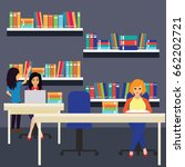 women in a library  working ... | Shutterstock .eps vector #662202721