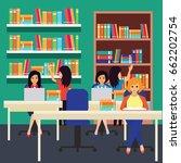 women in a library  working ... | Shutterstock .eps vector #662202754
