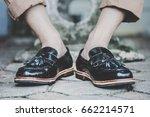 hipster man wear fashion shoes... | Shutterstock . vector #662214571