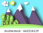 mountain scene paper world.... | Shutterstock .eps vector #662216119