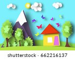 village scene paper world.... | Shutterstock .eps vector #662216137