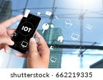 iot business man hand working... | Shutterstock . vector #662219335