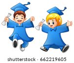 cartoon boy and girl graduation | Shutterstock . vector #662219605