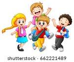 happy childrens cartoon | Shutterstock . vector #662221489