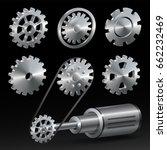 realistic industrial gear set... | Shutterstock .eps vector #662232469