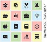 set of 16 editable school icons.... | Shutterstock .eps vector #662240647