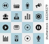 set of 16 editable melody icons.... | Shutterstock .eps vector #662245279