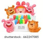pajama party invitation card... | Shutterstock .eps vector #662247085