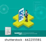 isometric smart mobile health... | Shutterstock .eps vector #662255581
