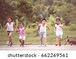 asian children having fun to... | Shutterstock . vector #662269561