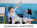 young couple of man and woman... | Shutterstock . vector #662270965