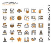 japan symbols   thin line and... | Shutterstock .eps vector #662271979