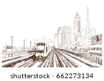 hand drawn sketch of dubai... | Shutterstock .eps vector #662273134