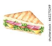hand drawn watercolor sandwich  ... | Shutterstock . vector #662275249