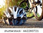 Bike helmet and bike on the...