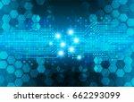 future technology  blue cyber... | Shutterstock .eps vector #662293099
