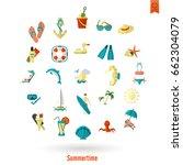 summer and beach simple flat... | Shutterstock .eps vector #662304079