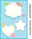 Stock vector sweet dreams cute card design with cloud star moon heart and sleeping bear for template frame on 662305981