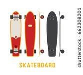 red longboard skateboard bottom ... | Shutterstock .eps vector #662308201