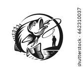 vintage bass fishing emblems...   Shutterstock .eps vector #662310037