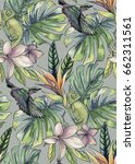 seamless tropical pattern with... | Shutterstock . vector #662311561
