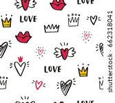 hand drawn print with heart and ... | Shutterstock .eps vector #662318041