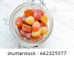 vitamins gummy in the glass jar ... | Shutterstock . vector #662325577