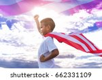 happy kid with american flag in ... | Shutterstock . vector #662331109