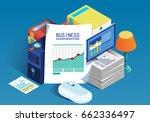 isometric business data report   Shutterstock .eps vector #662336497