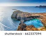 overlooking the blue aegean sea ... | Shutterstock . vector #662337094