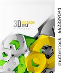 3d effect hexagon background | Shutterstock . vector #662339041