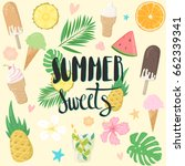 vector set of summer fruits ... | Shutterstock .eps vector #662339341