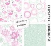 set of 4 vintage seamless...   Shutterstock .eps vector #662343565