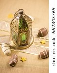 golden traditional lamp and... | Shutterstock . vector #662343769