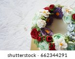 birthday cake with flowers on... | Shutterstock . vector #662344291