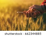 agronomist using smart phone... | Shutterstock . vector #662344885
